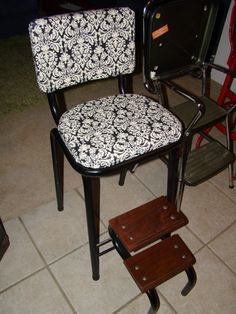 Antique Convertible Ladder Library Chair Step Stool Solid