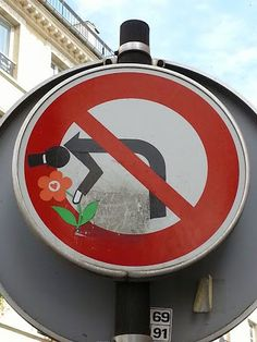 Road sign art in Paris (9), France, by CLET.