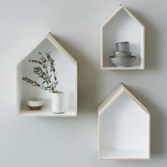 set of 3 house box shelves - contemporary - Display & Wall Shelves - London - rigby & mac House Shelves, Box Shelves, Wall Shelves, Tyni House, House Wall, Wood Hooks, Ideas Hogar, Wood Home Decor, Eclectic Design