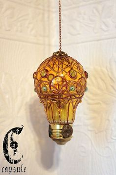 Decorative Ornament Yellow Stained Glass Light Bulb Hot Air Balloon with Green Beads Holiday Christmas This yellow light bulb is upcycled