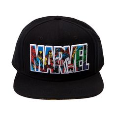 Shop for Marvel Collage Script Hat, Black, at Journeys Shoes. Marvels greatest heroes come together in full force on this stylish superhero snapback. Features embroidered Marvel text filled in with a collage of hero graphics. Underside of brim includes graphics of Spider-Man, Wolverine, Captain America, Hulk, and Magneto.