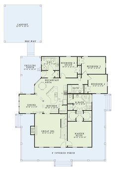 Country Style House Plan - 4 Beds 3 Baths 2039 Sq/Ft Plan #17-1017 Main Floor Plan - Houseplans.com