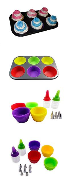Valiry Reusable Piping Tips Jumbo Silicone Muffin Cupcake Cake Decorating & Icing Nozzles Pastry pastry bags Decoration Baking Cup Set 24 PCS Muffin Cupcake, Cupcake Cakes, Icing Nozzles, Cake Decorating Icing, Piping Tips, Baking Cups, Cupping Set, Decoration, Bags