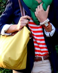 stripes, longchamp, and scarf