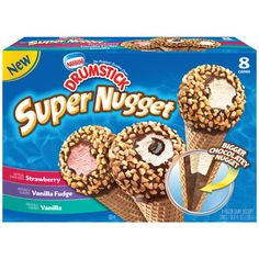 Nestle Drumstick Super Nugget Variety Pack Vanilla/Vanilla Fudge/Strawberry Ice Cream Cones, 8ct   #GrabSummerFun