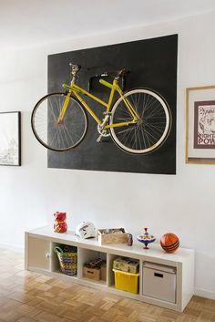 Bike Storage Room, Bike Storage Design, Living Room Interior, Home Interior Design, Bike Hanger Wall, Rack Velo, Bicycle Decor, Room Wall Decor, Wall Design
