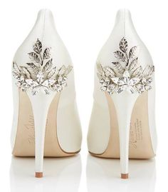 White shoes with crystal detail on heels!! Love it. Perfect for wedding