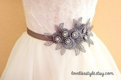 Rhinestone and Pearl Beading  Dark Gray Flower by lovelikestyle, $32.00
