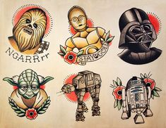 flash art from Star Wars  Tattoo, May the force be with you, princess leia, luke skywalker, darth vadder, hans solo, chewy, lando, R2D2, C3PO, jabba the hut, lando, death star, yoda, ewaks, obi one kenobi, dark side, wookie, light saber, millennium falcon, Admiral Ackbar, anakin skywalker, at-at walker, bantha, BB-8, boba fettm , Chewbacca,   www.talesofthetatt.com