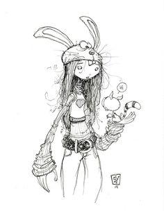 #DailySketch Rabbit Head Girl. original art available in my...