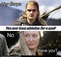 I really shouldn't laugh at this because I love them both but it is just hilarious. It's not everyday Legolas gets teased. Lotr Legolas, Thranduil, Legolas Funny, Tauriel, Movie Memes, Funny Memes, Hilarious, Book Memes, Funny Facts