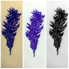 Feather sketch ♡♡♡♡ #drawing #penwork #blue #purple #blackandwhite #b/w