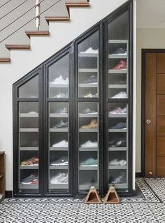 7 Amazing Shoe Storage Ideas From Real Homes is part of Storage furniture bedroom - Whether you're into sneaks or stilettos, there's a storage solution for every shoe collection Shoe Storage Furniture, Closet Shoe Storage, Wardrobe Storage, Understairs Shoe Storage, Diy Furniture, Shoe Racks For Closets, Shoe Storage Stairs, Storage For Shoes, Shoe Closet Organization