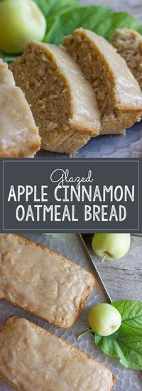 "Glazed Apple Cinnamon Oatmeal Bread - Lovely Little Kitchen - Soft and moist, and bursting with apple flavor. No mixer required! "" Soft and moist, and bursting - Apple Cinnamon Oatmeal, Oatmeal Bread, Oatmeal Yogurt, Baked Oatmeal, Applesauce Oatmeal Muffins, Oatmeal Biscuits, Cinnamon Biscuits, Cinnamon Tea, Oatmeal Cake"
