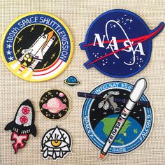 Aerospace Spacecraft Space Sailing Embroidery Clothes Decoration Decoration Necklace NASA Rocket Planet Eye Badge