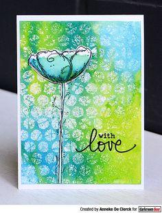 Darkroom Door Polka Dots Stencil and Fine Flowers Stamp Set. Card by Anneke De Clerck.