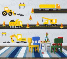 Construction Truck Decal - Vinyl Wall Art - Children Wall Decals - Hard Hat Area Yellow on Etsy, $40.00