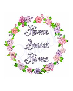 Home Sweet Home Lavender Rose Wreath Floral by UnderTheNumNumTree