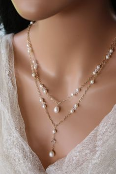 BACK  DROP  NECKLACE  Double Stranded Gold by LalleBridalJewelry, $94.99