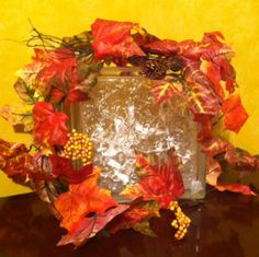 Lighted Glass Block #glassblock #lightedglassblock #fall #autumn #Thanksgiving