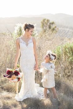 Modern Glam Bride and Flower Girl | Carlie Statsky Photography | Luxe Bohemian Wedding in Jewel Tones