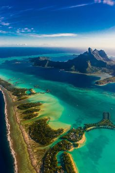 Aerial view showing the coral reef and the lagoon, Bora Bora, French Polynesia ✯ ωнιмѕу ѕαη∂у