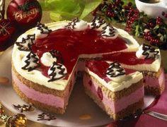 Himbeer-Lebkuchen-Torte Rezept: Eier,Salz,Zucker,Mehl,Speisestärke,Backpulver,Lebkuchen-Gewürz,Mandeln,TK-Himbeeren,Gelatine,Schlagsahne,Vanillin-Zucker,Tortenguss,Himbeersirup,Zartbitter-Kuvertüre,Backpapier,Plastikbeutel