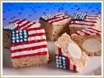 The perfect treat for the celebration: Red, White and Blue Bunny Rice Krispies Ice Cream Treats.