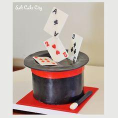 Salt Cake City Birthday Cake (www.SaltCakeCity.com) Magician's hat with floating cards cake