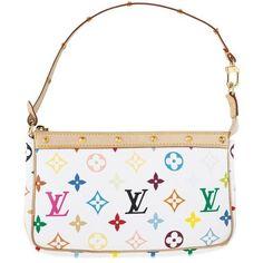 Louis Vuitton Monogram Multicolore Pochette Blanc M92649 Pas Cher Sac ❤  liked on Polyvore featuring bags fd4d49ab479