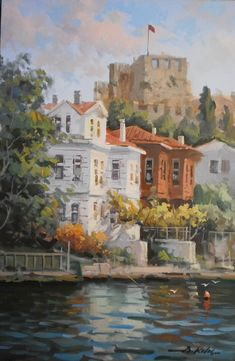 Resmi kapatmak i�in t�kla, Ta��mak i�in tut-�ek. resimleri h�zl� ileri geri yapmak i�in kalvyeden sa�-sol ok tu�lar�na bas�n. Cool Landscapes, Landscape Paintings, Building Painting, Great Paintings, Landscape Pictures, Gravure, Acrylic Painting Canvas, New Art, Watercolor Art