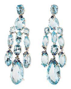 Y295A Alexis Bittar Fine Blue Topaz/Quartz/Sapphire & Diamond Chandelier Earrings