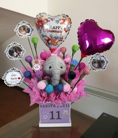 Candy Bouquet Diy, Diy Bouquet, Baby Balloon, Balloon Gift, Surprise Box, Party Centerpieces, Mickey Mouse, Appreciation Gifts, Balloon Decorations