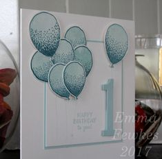 First Birthday Balloons by Emma F - Cards and Paper Crafts at Splitcoaststampers