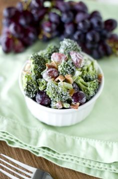 Broccoli Salad with bacon and grapes. Id like to try some other recipes from this blog, too.