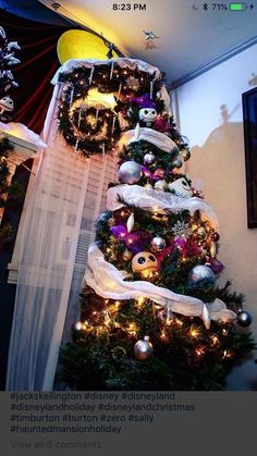 Geeky nightmare before christmas tree holiday decor Halloween Christmas Tree, Nightmare Before Christmas Ornaments, Merry Christmas, Disney Christmas, Xmas Tree, Christmas Themes, Christmas Tree Decorations, Happy Halloween, Christmas Christmas