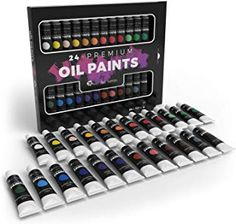 Castle Art Supplies Oil Paint Set - 24 Vibrant Colors in Tubes - Excellent Value Supplies with Beautiful Saturation and Coverage. This Set Makes it Easy and Fun to Explore Oil Painting Oil Paint Set, Watercolor Paint Set, Arts And Crafts Supplies, Art Supplies, The Joy Of Painting, Painting Art, Paint Cans, Art Tutorials, Vibrant Colors