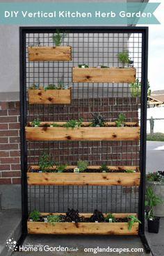 Vertical Patio Garden with herbs! This is a great idea, but to make it better, u… - Garten Dekoration Vertical Vegetable Gardens, Indoor Vegetable Gardening, Organic Gardening, Herb Gardening, Vertical Garden Design, Vertical Planter, Fence Planters, Outdoor Planters, Indoor Outdoor