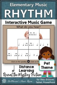 FUN interactive elementary music game aurally identifying half notes. Your students will LOVE revealing the hidden picture one correct answer at a time. Easy addition to music lesson plans and it works well on all platforms in class or for distance learning. Music Education Activities, Learning Activities, Music Lesson Plans, Music Lessons, Music Teachers, Teaching Music, Rhythm Games, Elementary Music, Platforms