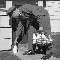 Milk Delivery- when I was very small we had a milkman who delivered bottled milk right our door! It was whole milk, WITH the cream! My Dad would buy me a special treat once in awhile- my own bottle of milk with sugar added- what an awesome delight that was- like ice cream in a bottle!- aj
