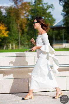 Nicole Warne wearing Ellery dress & Chanel slingbacks #StreetStyle