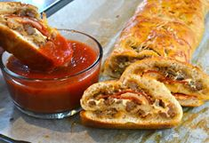 Stromboli with sausage & pepperoni served with warm sauce is comfort food that makes family and friends heppy. Stromboli with sausage & pepperoni served with warm sauce is comfort food that makes family and friends heppy. Sausage Bread, Pepperoni Bread, Sausage Dip, German Sausage, Cheese Bread, Comfort Food, Homemade Sauce, Soup And Salad, Italian Recipes