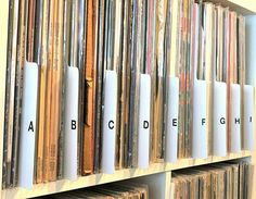A-Z Alphabetical Vinyl Record Dividers [Cards] 12-inch 33 rpm (33/33s) LP Albums Library Room, Vinyl Storage, Great Albums, Record Collection, Vinyl Lettering, Storage Solutions, Vinyl Records, Alphabet, Dividers