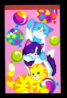 cf266f6a6fa31 Large Lisa Frank Balloon Kittens Vintage Memo Pad Paper Notebook kitty cat