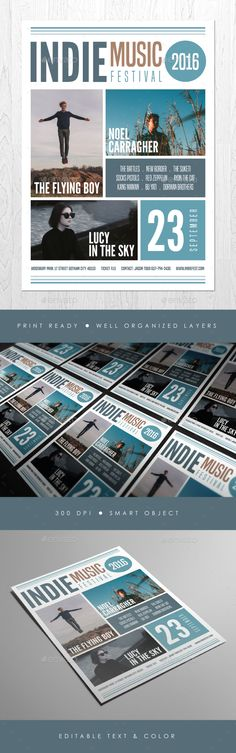 Indie Music Festival Flyer by ashenterprise FILE FEATURES - 1 PSD design - Size A4 (8.211.6 in)   bleed area - CMYK / 300 dpi - Smart object image - Customizable text -