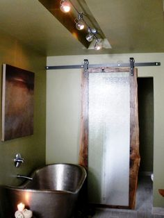 Bathrooms with Unique Features : Home Improvement : DIY Network Copper tub, green paint, sliding door
