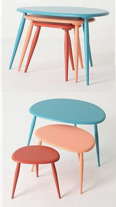 Brightly-painted nesting tables save space and provide a pop of color.