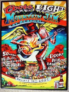 Original concert poster for the 2003 Coors Light Mountain Jam at Red Rocks in Morrison, CO. featuring Gov't Mule, The Doors, Korn, and The Roots. 18x24 inches on thin glossy paper.
