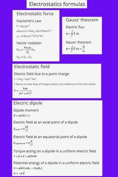 Electrostatics formulas, Also tutorials, formulas and answers on many physics topics Electric Flux, Electric Field, Physics Topics, Physics Formulas, Basic Physics, Physics Notes, School Study Tips, Study Materials, Mathematics