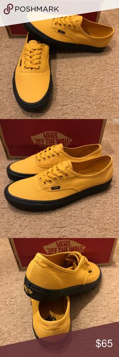 Authentic Black Sole Vans New in box. Mineral Yellow Vans Shoes Sneakers  Skate Shoes f4b66077a